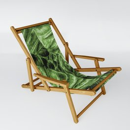 Painted Green Monstera palm leaves by Brian Vegas Sling Chair