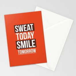 Lab No. 4 - Sweat Today Smile Tomorrow Gym Motivational Quote Poster Stationery Cards