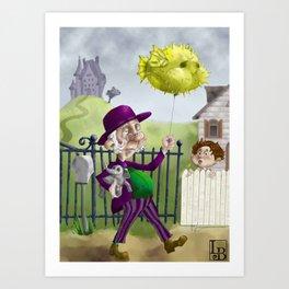 the Bowl Hat & Blowfish Art Print