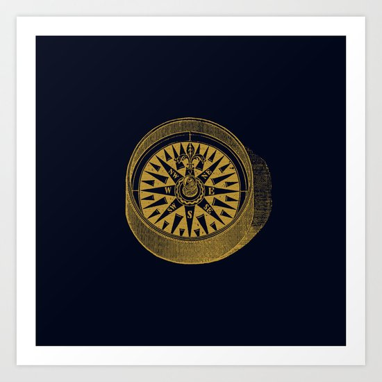 The golden compass I- maritime print with gold ornament Art Print