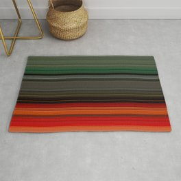 Bold Orange Green Stripes Rug