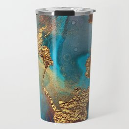 Abstract Blue And Gold Autumn Marble Travel Mug