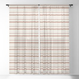 Sherwin Williams Cavern Clay Warm Terra Cotta SW 7701 Horizontal Line Patterns 3 on Creamy Off White Sheer Curtain