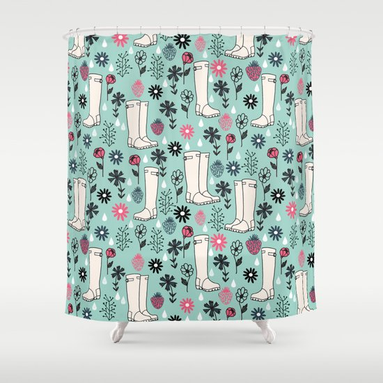 Springtime Wellies by Andrea Lauren Shower Curtain