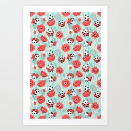 Poppy Pandas Art Print