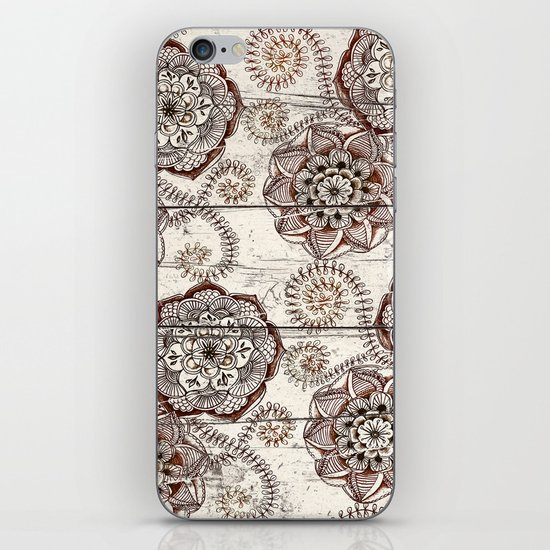 Coffee & Cocoa - brown & cream floral doodles on wood iPhone & iPod Skin