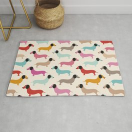 Sweet retro dachshund doxie puppy pattern Rug