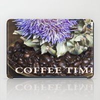 coffe iPad Cases featuring Coffe Beans and Blue Flower of Artichoke by CAPTAINSILVA