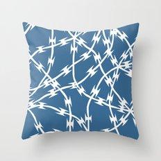 Blue Barb Throw Pillow