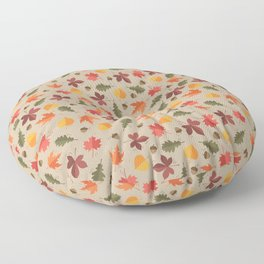 Autumn Leaves Pattern Beige Background Floor Pillow