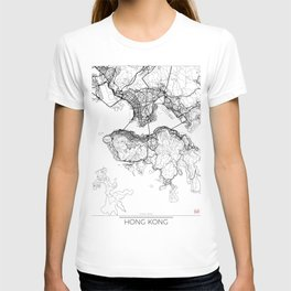 Hong Kong Map White T-shirt