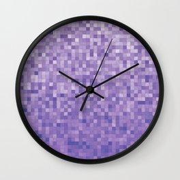 Pixels Gradient Pattern in Purple Wall Clock