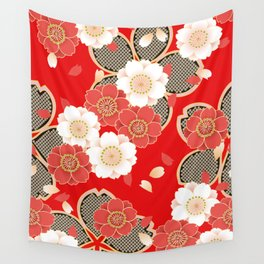 Japanese Vintage Red Black White Floral Kimono Pattern Wall Tapestry