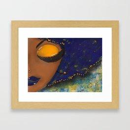 Blue and Gold Sassy Girl  Framed Art Print