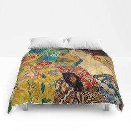 Gustav Klimt Lady With Fan Comforters