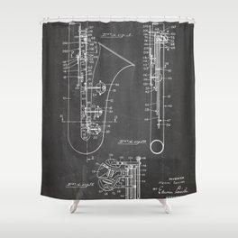 Selmer Saxophone Patent - Saxophone Art - Black Chalkboard Shower Curtain