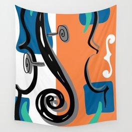 Scroll Pride - violin viola cello love - orange and teal Wall Tapestry