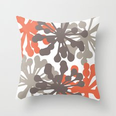 Modern Botanical Print Coral Brown Throw Pillow