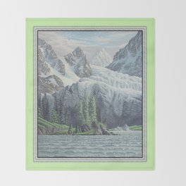 HIDDEN TOWER IN THE INLAND PASSAGE VINTAGE OIL PAINTING Throw Blanket