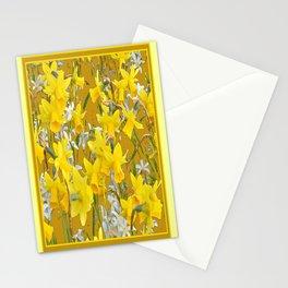 Mustard Yellow Art Golden Daffodils Garden Design Stationery Cards