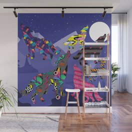 80s Funky Wolf (Starlight) Wall Mural