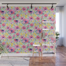 Painterly Watercolor Floral Pink Wall Mural