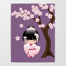 Japanese Bride Kokeshi Doll on Purple Poster