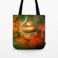 led zeppelin Tote Bags featuring Zeppelin  by nicky2342