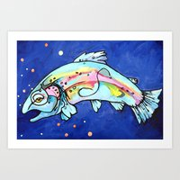 trout Art Prints featuring Trout Pout by waggytailspetportraits