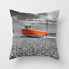 Orange Boat Throw Pillow