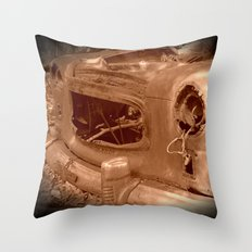 The Old Car In The Woods Throw Pillow