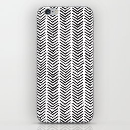 Black and white brush painted chevron iPhone Skin