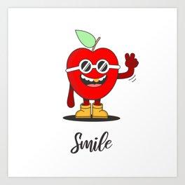 Happy Rapper Apple Art Print