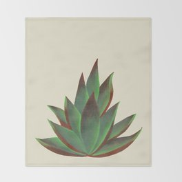 Red and Green Aloe Vera Plant Throw Blanket