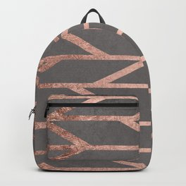 Rose gold chevron stripes geometric pattern on grey cement concrete Backpack