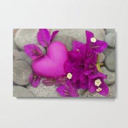 Pink Bougainvillea Flowers And Heart Metal Print