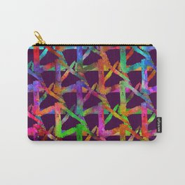 Cool watercolor rainbow brush plaid. Bright print Carry-All Pouch