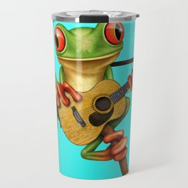 Cute Green Tree Frog Playing an Old Acoustic Guitar Travel Mug