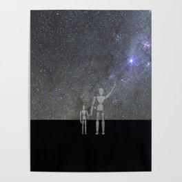Wooden Anatomy Doll Father Shows Child the Milky Way Galaxy Poster