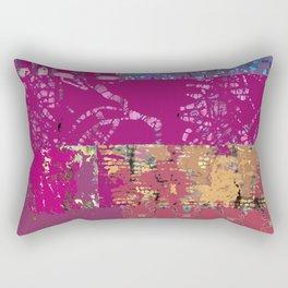 Fiber art, magenta mixed media, fabrics and digital Rectangular Pillow