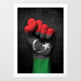 Libyan Flag on a Raised Clenched Fist Art Print