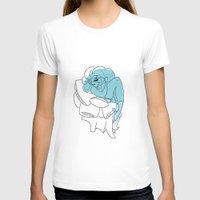 bookworm T-shirts featuring Blue Bookworm  by Wynne Gettelfinger