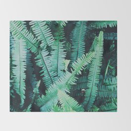Botanic jungle leaf pattern Throw Blanket