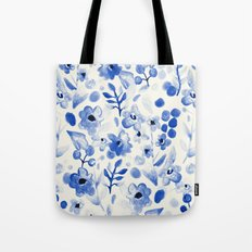 Blue China - Watercolor Floral Tote Bag