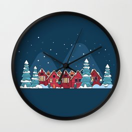 Winter holidays in the mountains concept Wall Clock