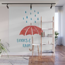 Books and Rain Wall Mural