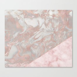 Pink marble & french polished rose gold marble Canvas Print