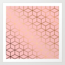 Pink and Gold Geometry 011 Art Print
