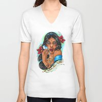 jasmine V-neck T-shirts featuring Jasmine by Little Lost Forest