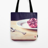 pomegranate Tote Bags featuring pomegranate by Mary Carroll